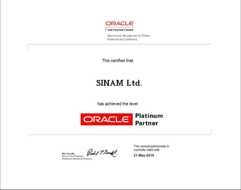 Recertification of the Oracle Platinum status of SINAM